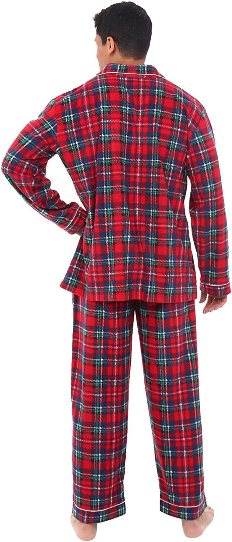 Long Button Down Pjs Alexander Del Rossa Mens Warm Fleece Pajama Set