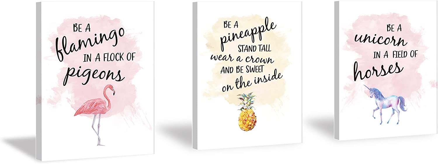 HPNIUB Flamingo Pineapple Unicorn Art Prints,Inspirational Quotes Painting Set of 3 Pieces (11.8x15.6inch) Framed Watercolor Pink Canvas Posters -Ready to Hang for Girls Gift Bedroom Classroom Decor