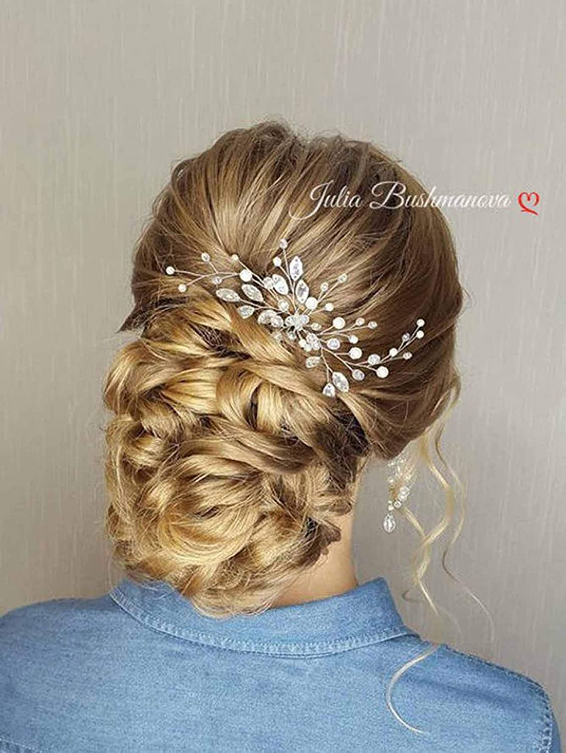 Simsly Wedding Hair Pins Pearl Bridal Headpiece Wedding Hair Accessories Crystal for Bride and Bridesmaid (Gold)