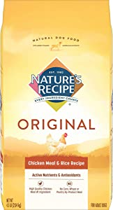 Nature's Recipe Adult Dog Food Dry, Chicken Meal & Rice Recipe, 4.5-Pound
