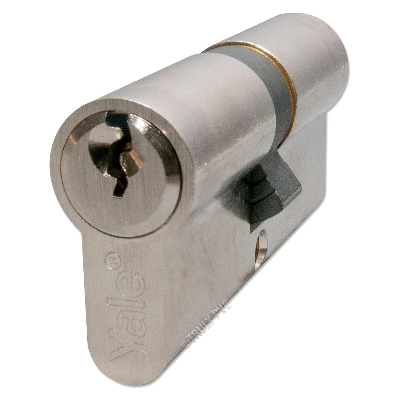 Yale Cylindre de serrure standard avec 6 goupilles anti effraction 30 000 combinaisons de clé et testé jusqu'à 100000 rotations de clé en laiton poli ou nickelé 40/60 (35/10/55 Length 100mm) Brass - 3 keys (0 Extra)