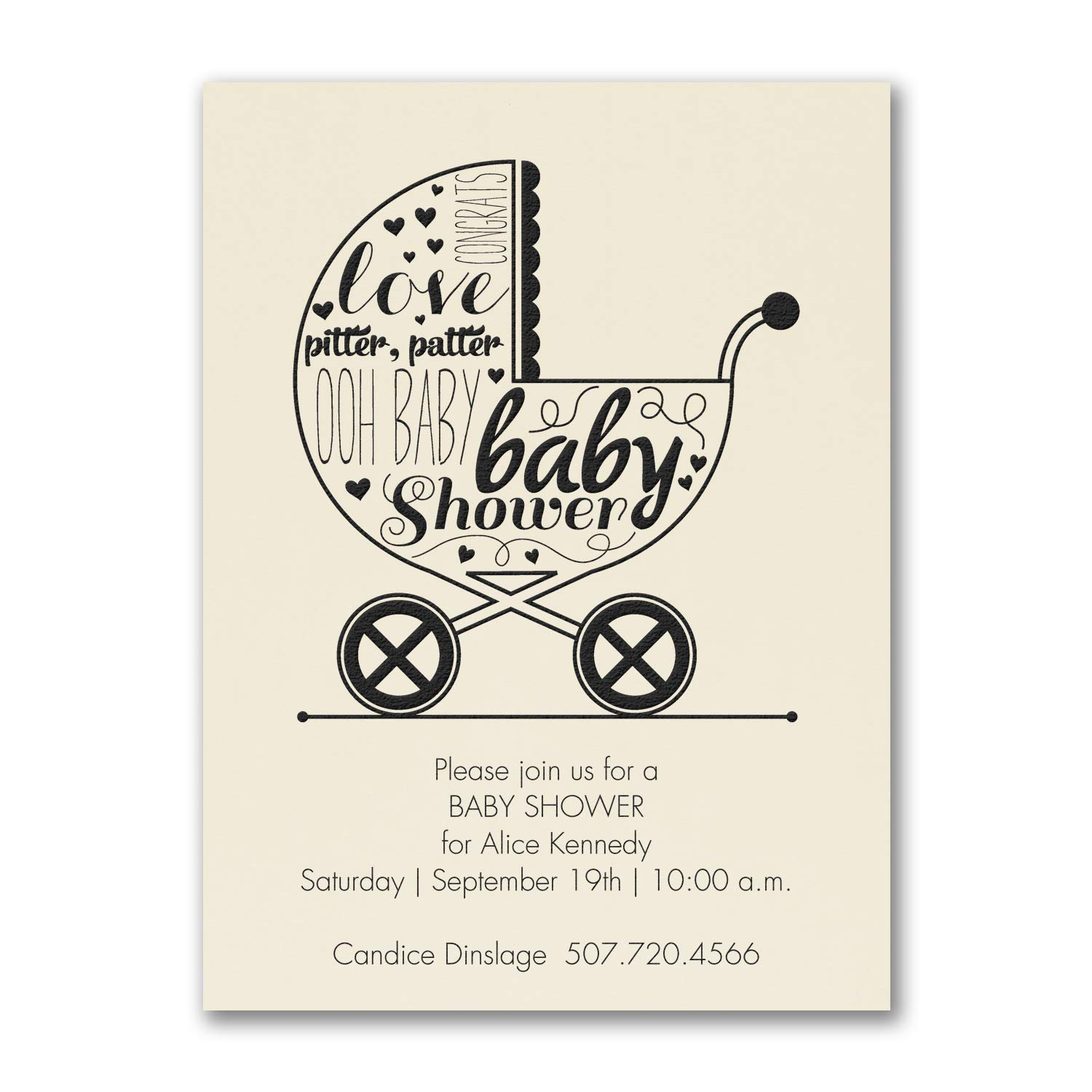 775pk Baby Buggy Shower - Baby Shower Invitation - Ecru-Baby Shower Invitations