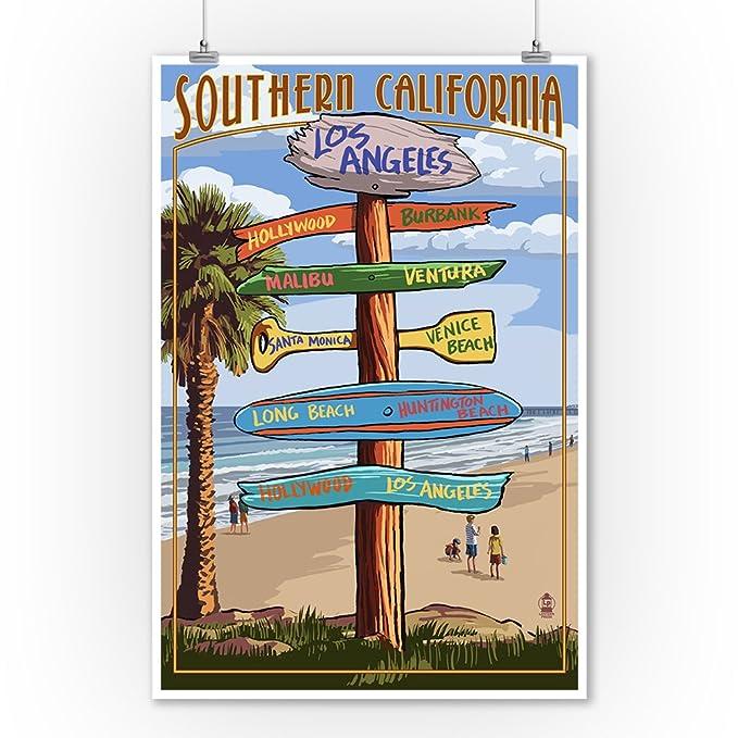 Groovy Southern Los Angeles California Destinations Sign 9X12 Art Print Wall Decor Travel Poster Uwap Interior Chair Design Uwaporg