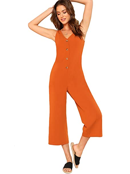 185d922d346 Amazon.com  DIDK Womens Jumpsuits Casual Button V Neck Sleeveless High  Waist Wide Leg Jumpsuit Rompers with Pockets  Clothing