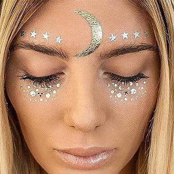 Amazon.com : Face Tattoo Face Sticker Metallic Shiny Temporary ...