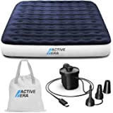 Active Era Luxury Camping Air Mattress with Built in Pump - Queen Air Mattress with USB Rechargeable Pump, Integrated Pillow,