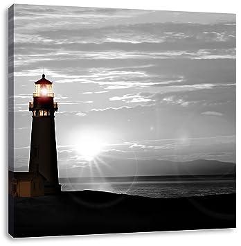 Großer Leuchtturm im Sonnenuntergang Leinwandbild Wanddeko Kunstdruck
