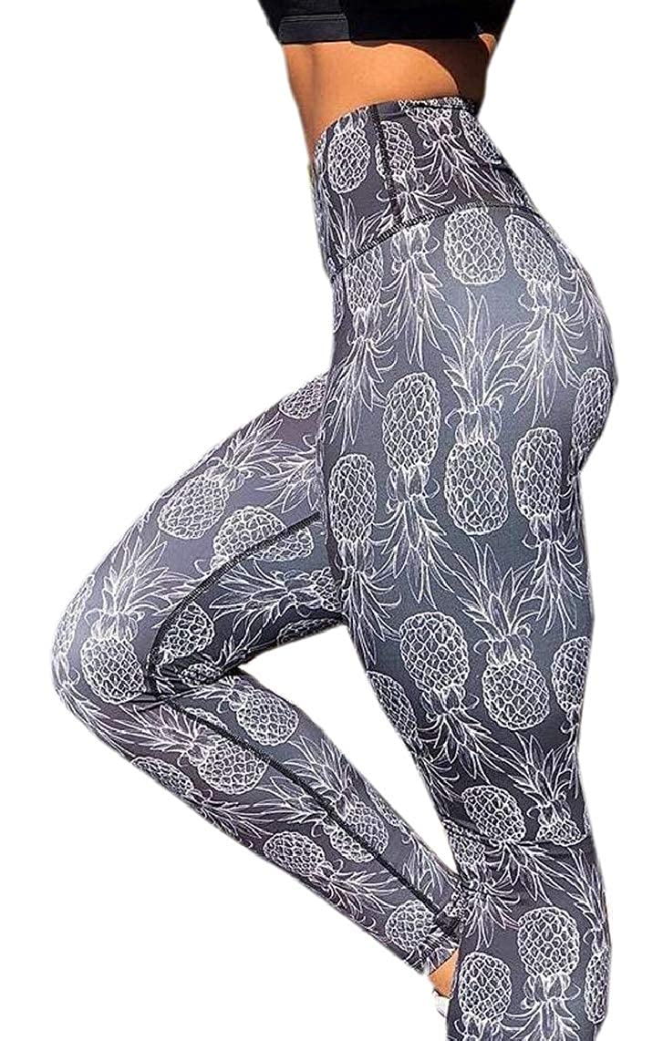 Hokny TD Womens Patchwork Pineapple Patterned Slim Yoga Sports Legging Pants