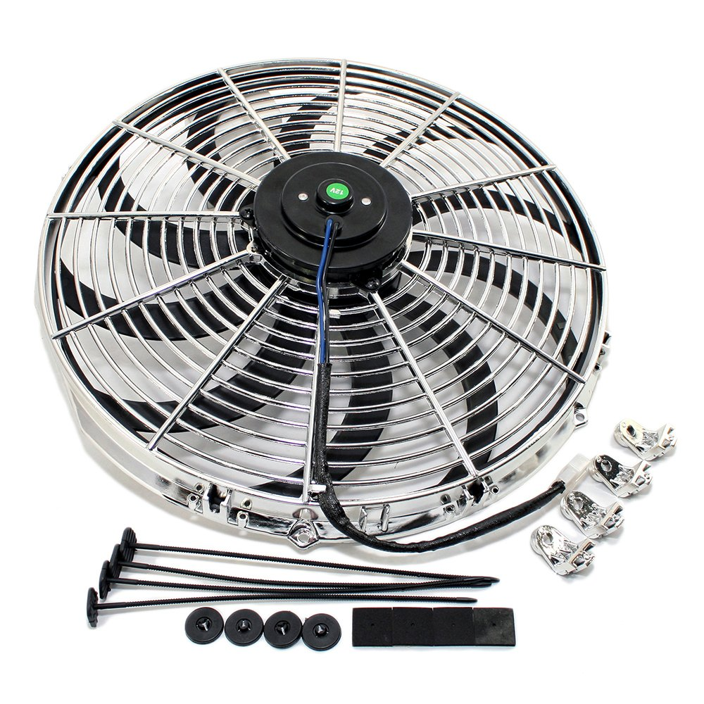 Assault Racing Products 4501010 10 Chrome S-Blade Electric Radiator Cooling Fan Universal w// Mounting Kit