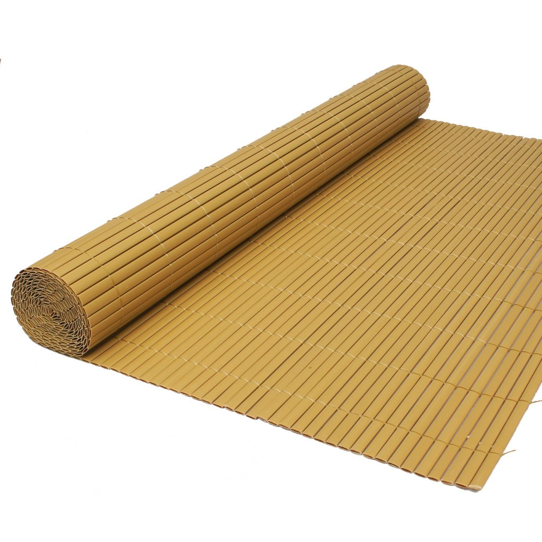 Artificial Bamboo Cane Two Sided Garden Fence Roll Privacy Screening 1m High x 4m Long by True Products