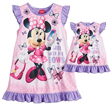 77d827e7af26 Amazon.com  Disney s Minnie Mouse Work for Bows Dorm Nightgown ...
