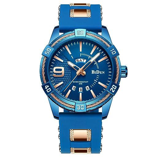 Relojes Hombre Cinta de Silicona Impermeable Deportes analógico de Cuarzo Hombres Reloj Negocios de Lujo Calendario Azul Relojes Hombre: Amazon.es: Relojes