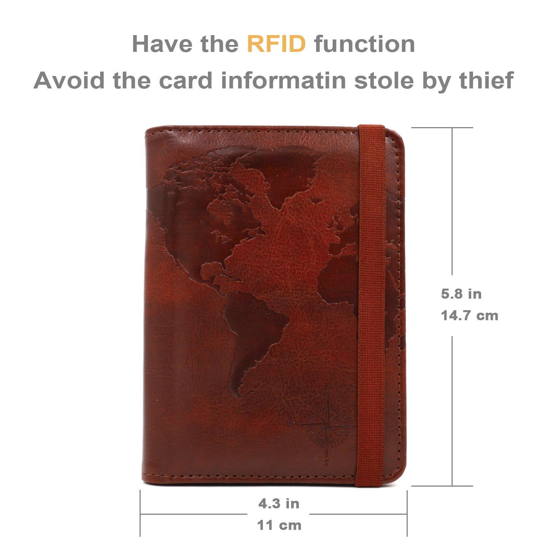 Kandouren RFID Blocking Passport Holder Cover Case,travel luggage passport wallet made with Brown Map Crazy Horse PU Leather for Men & Women by kandouren (Image #2)