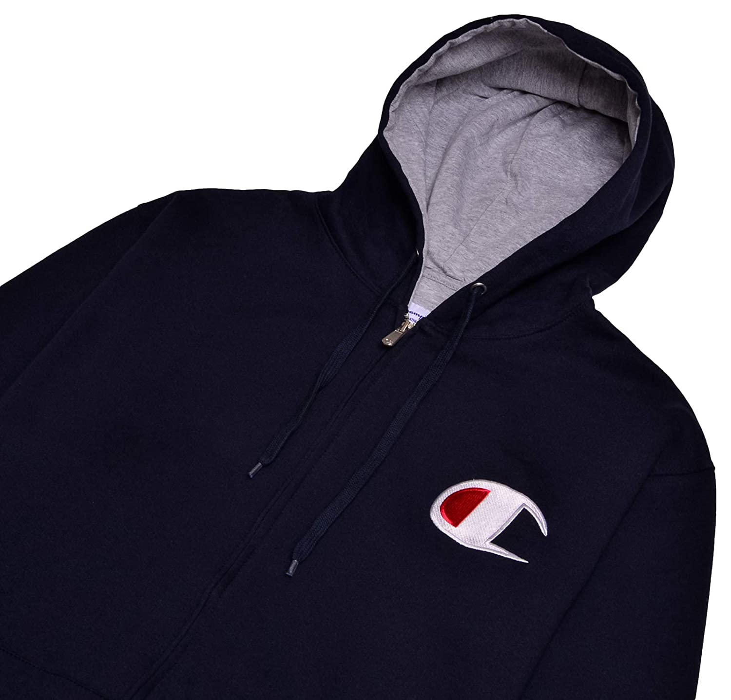 Champion Mens Big and Tall Full Zip Hoodie Classic Embroidered Logo