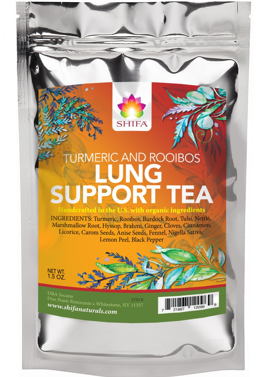 Shifa Lung Support Tea Turmeric and Rooibos Fortify and Cleanse Lungs with Anti-inflammatory Herbs, Phytonutrients and Antioxidants 1.75oz.