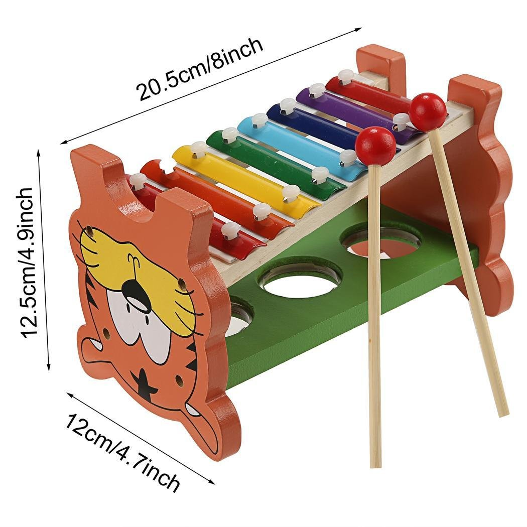 Etuoji Baby Kids Wooden Educational Development Music Toy Pound Tap Table Knock Ball with Slide out Xylophone Piano