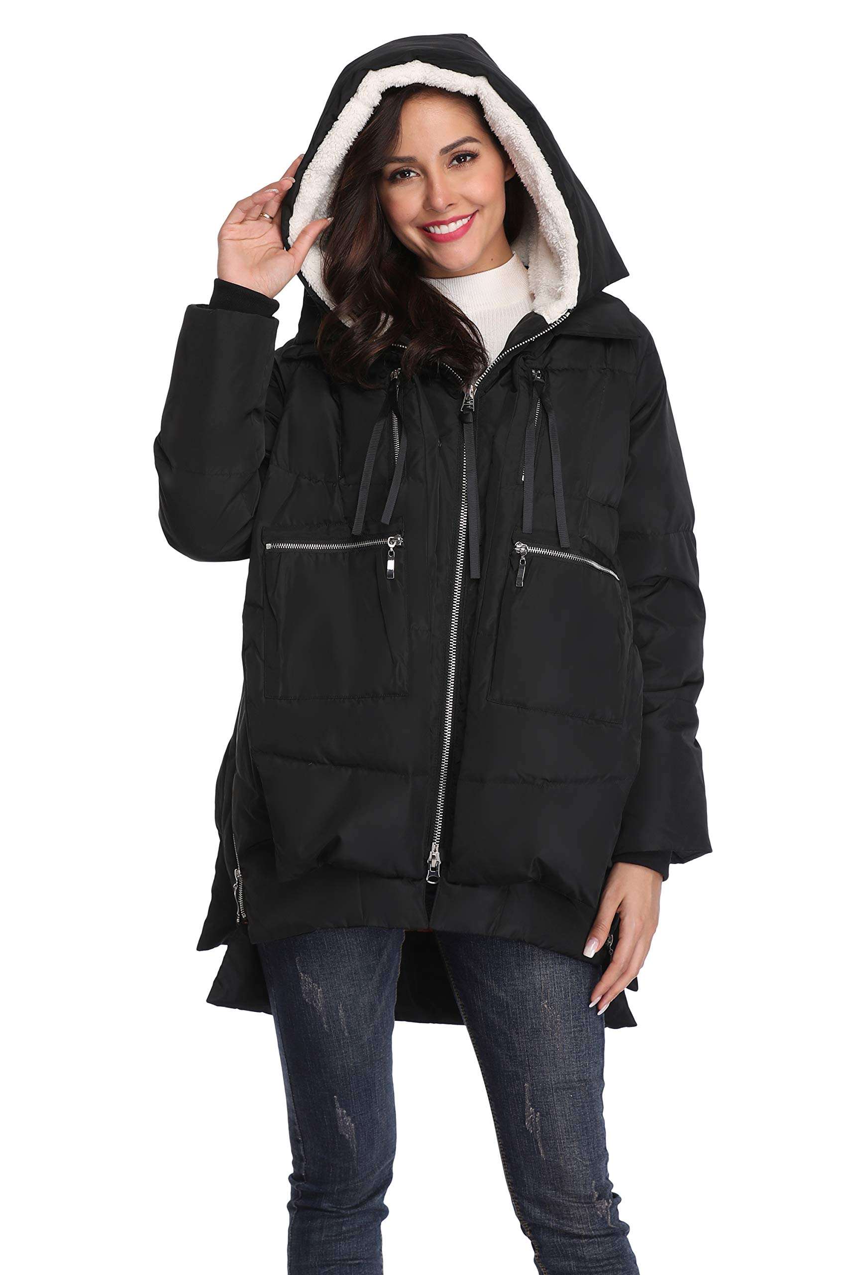 Shanghai Bund Women's Thickened Down Jacket with Hood Winter Warm Hooded Parka Coat