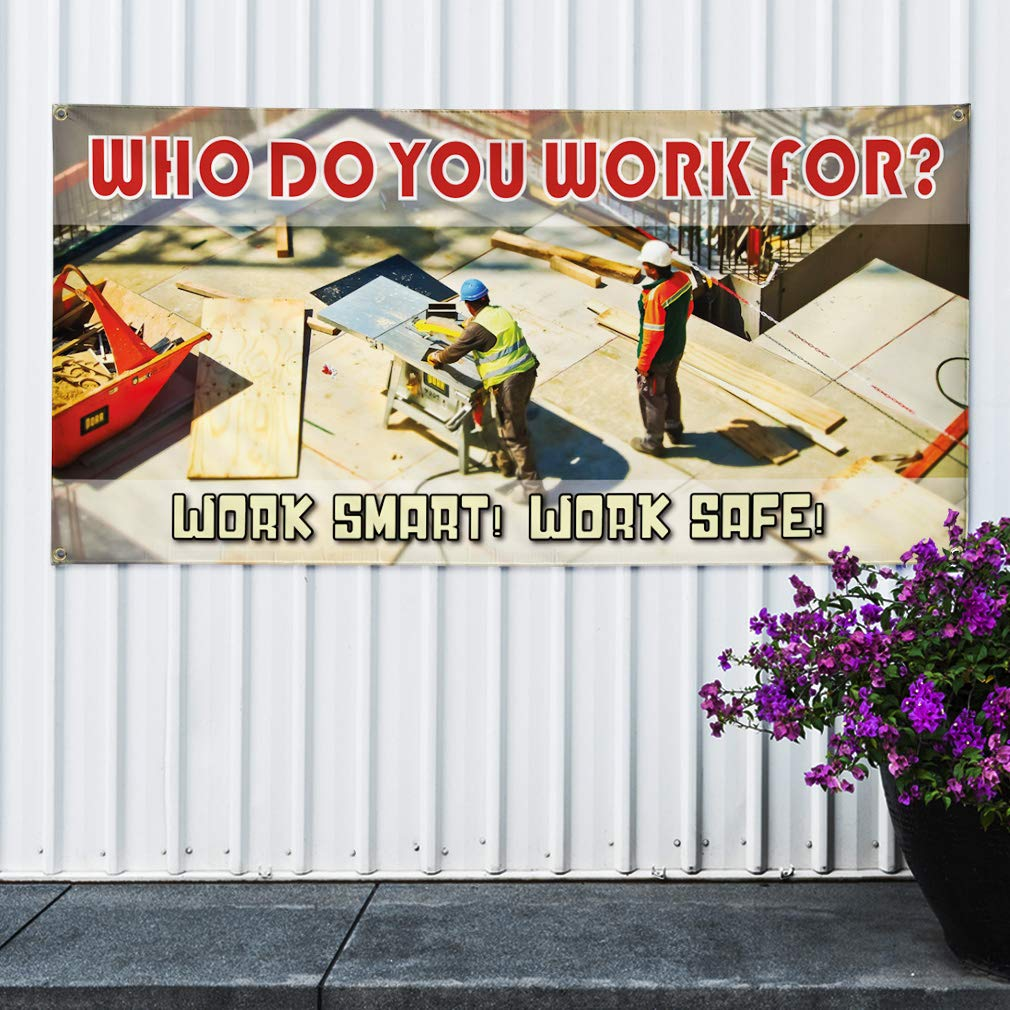 Vinyl Banner Sign Work Smart 4 Grommets Set of 2 Work Safe Industrial /& Craft Marketing Advertising White 28inx70in Multiple Sizes Available