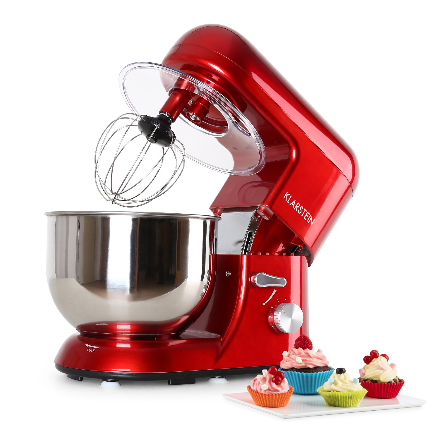 KLARSTEIN Bella • Tilt-Head Stand Mixer • Dough Hook, Flat Beater, Wire Whip • 650 Watts • 1.1 HP • 5.5 qt Stainless Steel Bowl • Planetary Mixing Action • 6 Speeds • Multifunctional (Red)