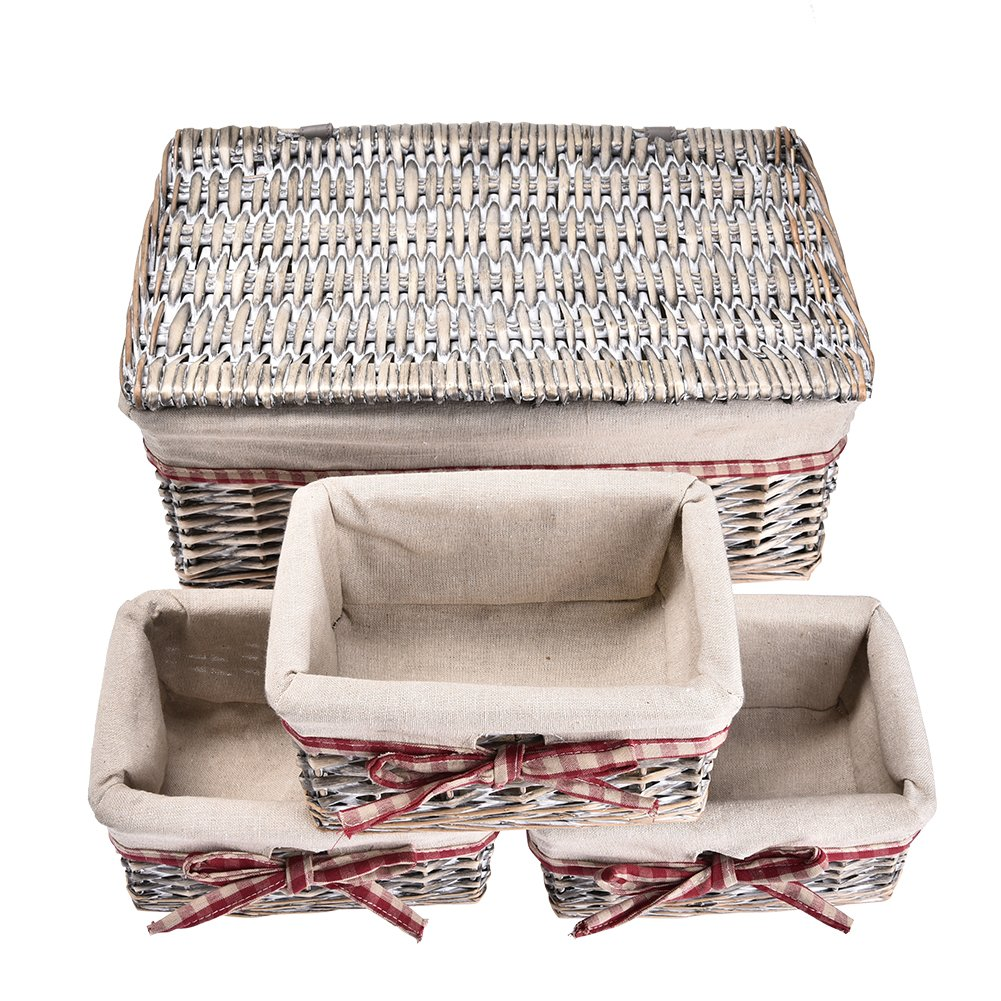 Woven Storage Baskets,Sundlight Set of 4 Woven Basket Wicker and Linen Organizing Baskets,Nesting Baskets for Closet,Bathroom,Bedroom,ToysContainers - 3 Small,1 Large