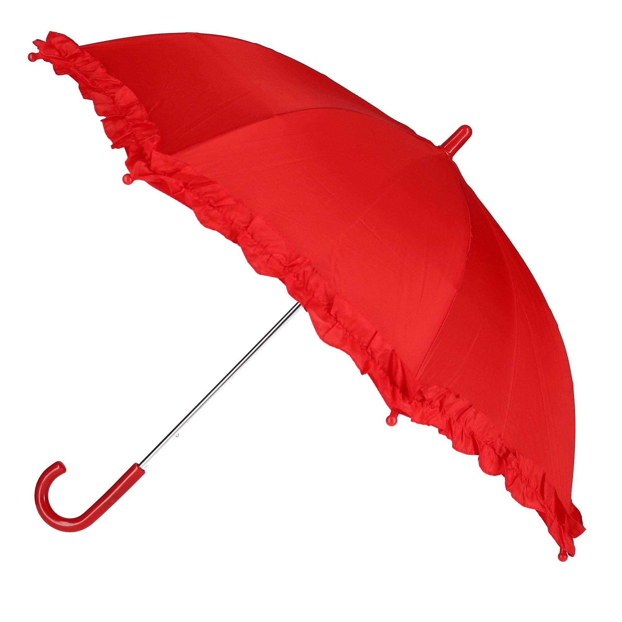 CTM Kid's Solid Color Stick Umbrella with Ruffle, Red