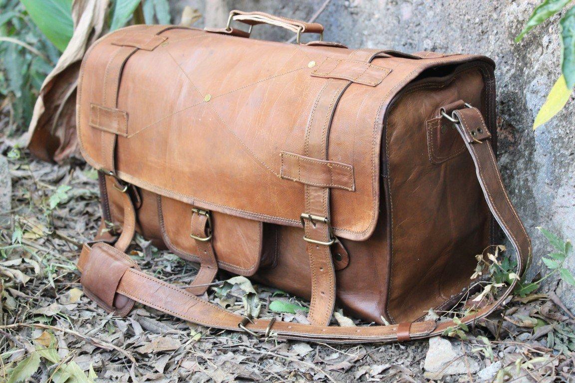 HLC Genuine Leather Handmade Vintage Duffel Luggage Travel Bag Duffel Gym Bag Yogo Bag Travelling Bag 1O-OUZ7-RFM0
