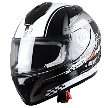 Astone Helmets Diablo, Casco integral, color Negro/Blanco, talla S