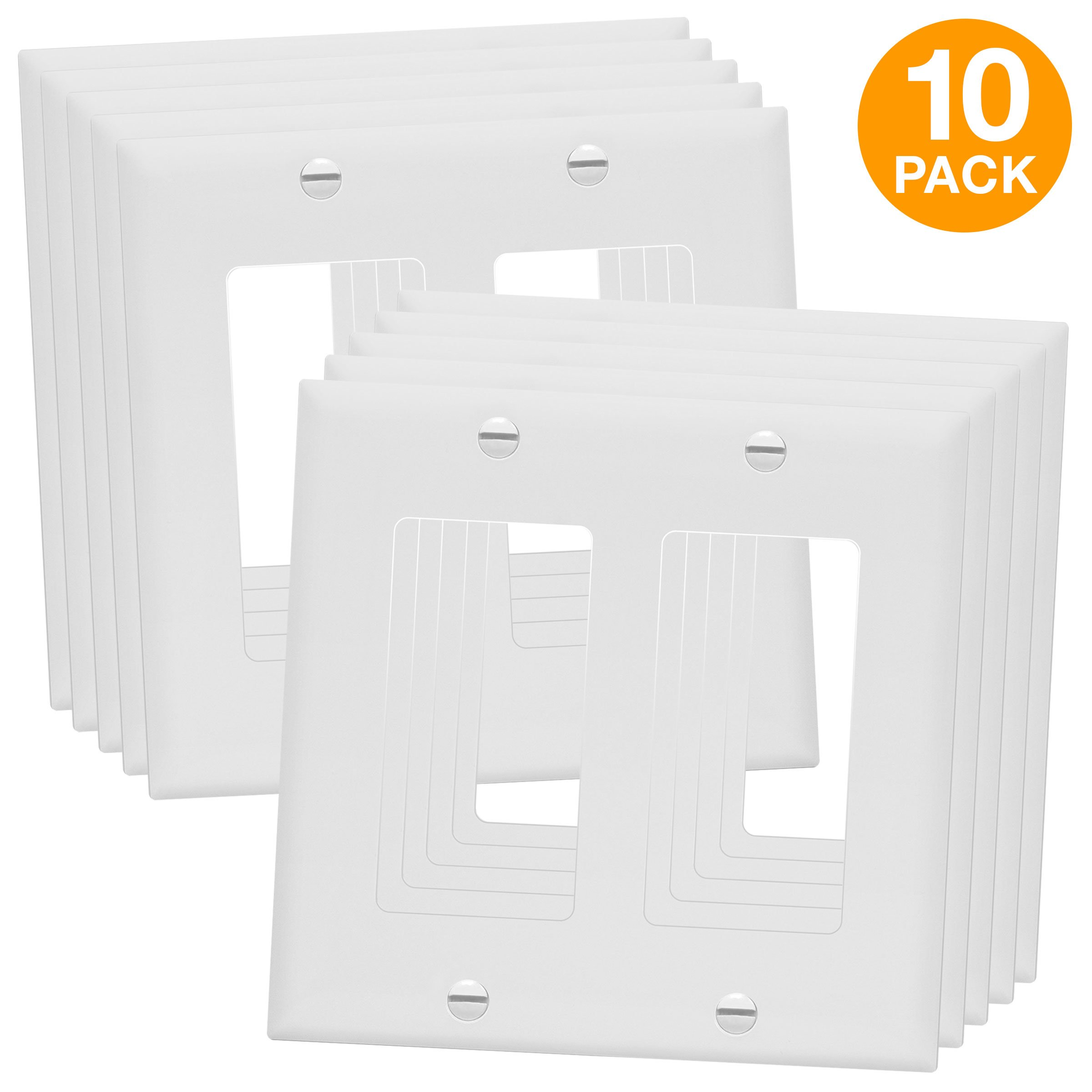 ENERLITES Decorator Light Switch or Receptacle Outlet Wall Plate, Size 2-Gang 4.50'' x 4.57'', Polycarbonate Thermoplastic, 8832-W-10PCS, White (10 Pack) by ENERLITES