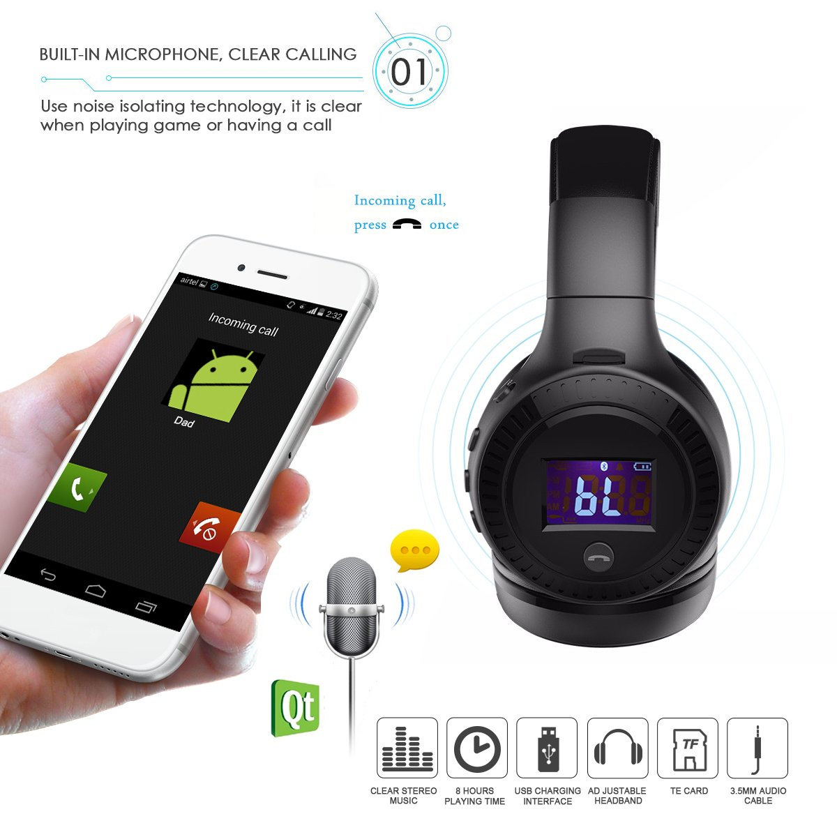 Amazon.com: Wireless Headphones, ELEGIANT On Ear Wireless Headset ...