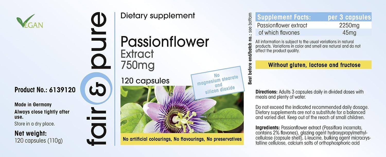 Extracto de Pasiflora 750mg - 120 cápsulas - artículo vegano - fabricado en Alemania: Amazon.es: Salud y cuidado personal
