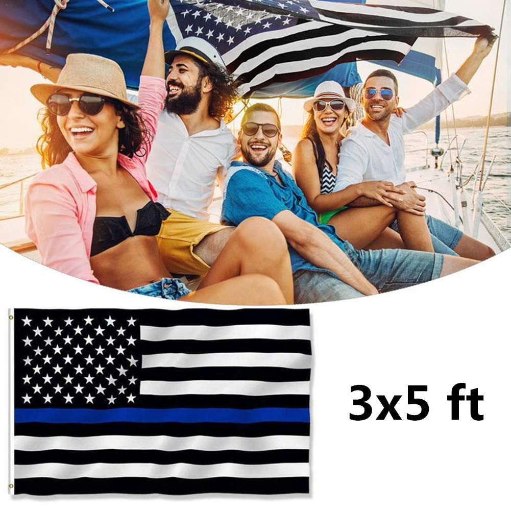 Black White and Blue American Police Flag Honoring Law Enforcement Officers Canvas Header and Double Stitched Yafeco 2 Pcs Thin Blue Line USA Flag 3x5 ft Vivid Color and UV Fade Resistant