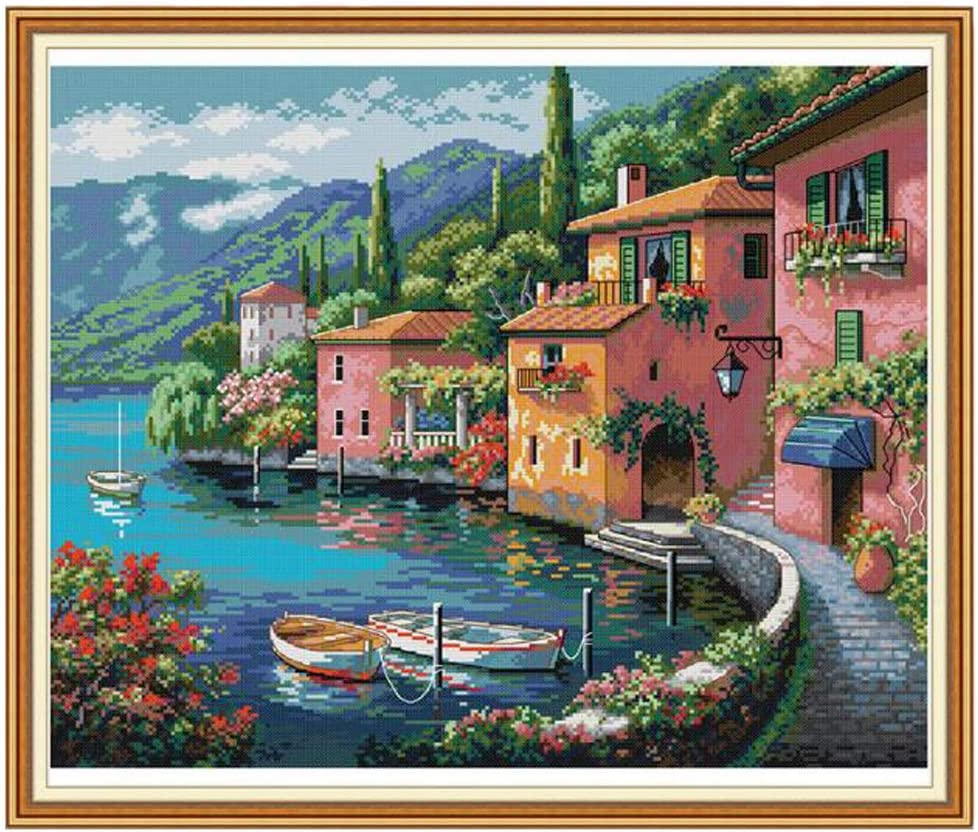 Seaside Summer Village 11ct 26 inches by 22 inches dailymall Stamped Cross Stitch Starter Kits Beginners Cross-Stitching Pre-Printed Pattern No Frame