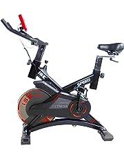 ISE Vélo d'appartement Ergomètre Cardio Vélo Spinning Biking,Petit Exercice de Fitness Indoor avec Programme et l'Ecran LCD,Supports pour Bras,Cardiofréquencemètre Max. 120kg,SY-7005-1