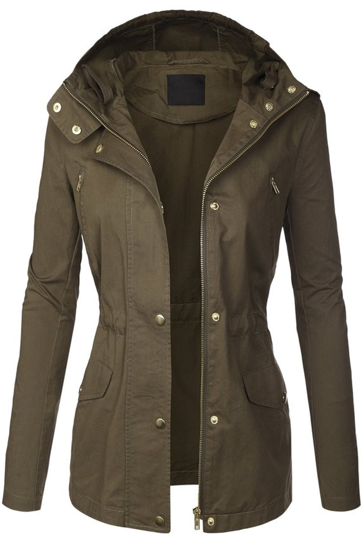 FASHION BOOMY Womens Zip Up Military Anorak Jacket W/Hood (Large, H-11-OLIVE)