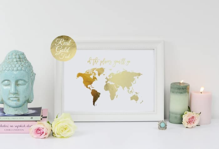 Oh the places youll go world map poster real gold foil map print oh the places youll go world map poster real gold foil gumiabroncs Images