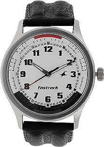 3001SL01 - Fastrack ANALG Men's, 50m Water Resistant, White Dial, Black Leather Strap