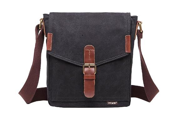 ee7b0f9a3a ALOVEY Small Canvas Satchel Messenger Bag Vintage Crossbody School Shoulder  Bag Black