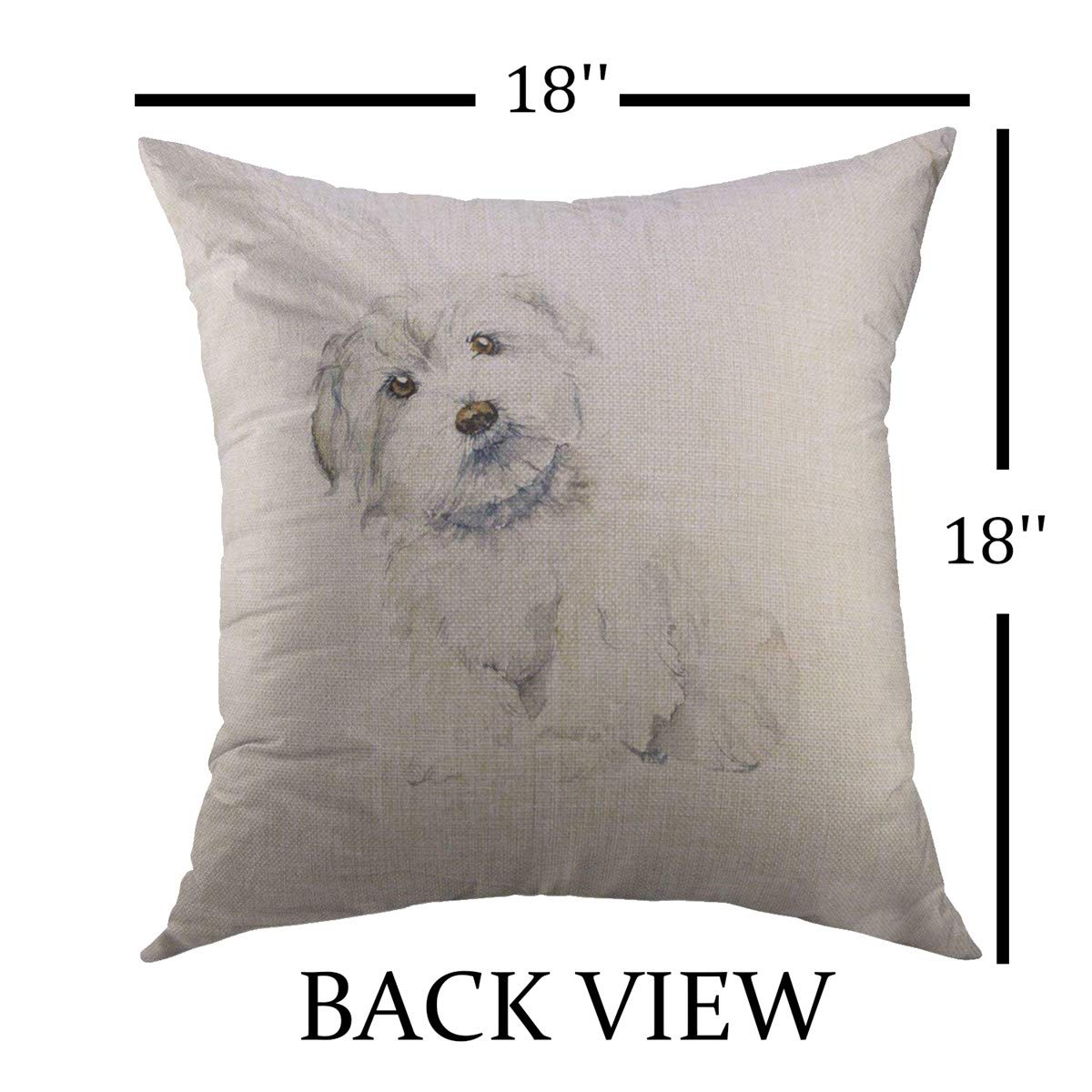 Mugod Decorative Throw Pillow Cover for Couch Sofa,White Puppy Maltese Dog Portrait Small Watercolor HDrawn Cute Drawing Home Decor Pillow Case 18x18 Inch