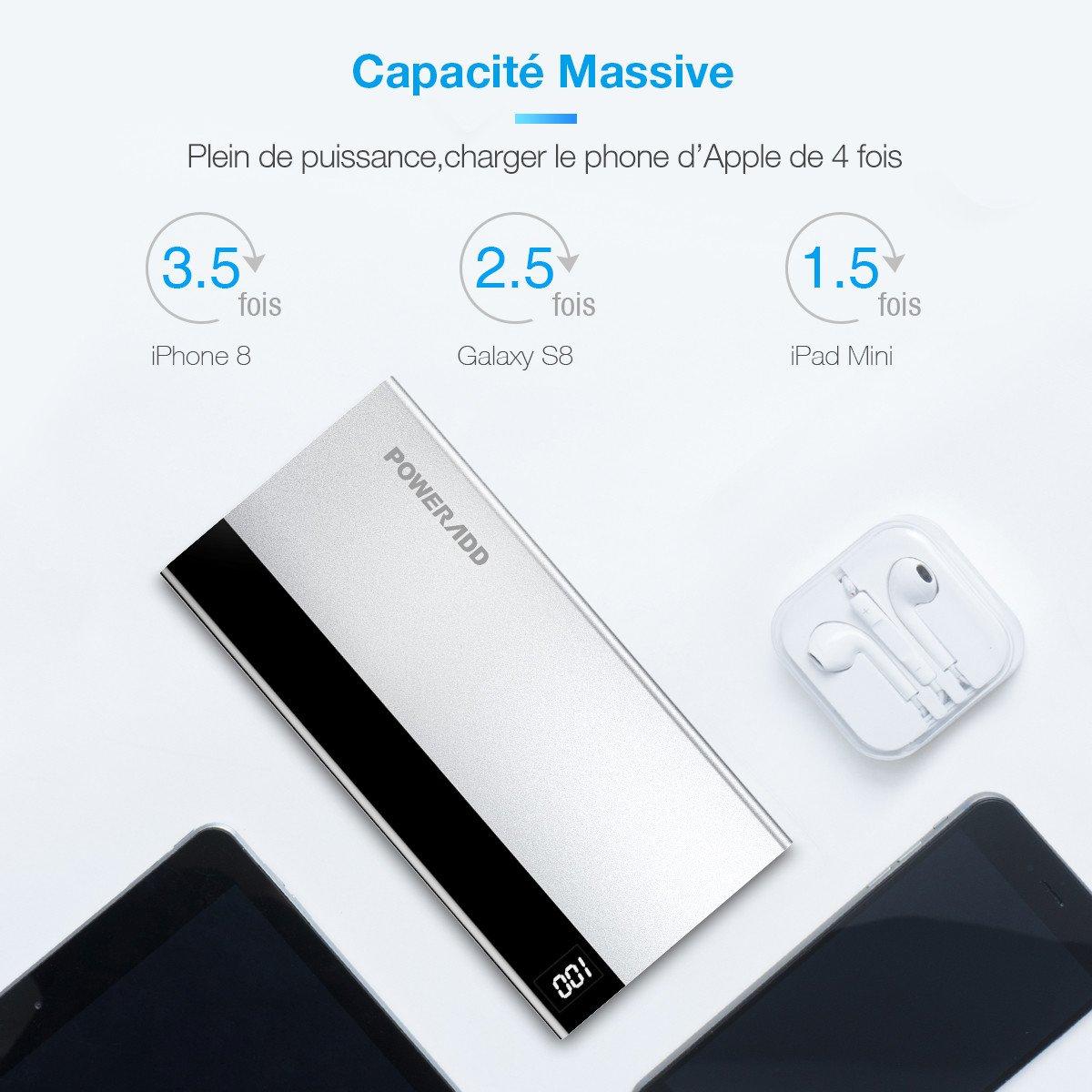 Poweradd Aries I Batterie Externe de secours 10000mAh chargeur portable en Alliage d\'Aluminium avec Sortie et Entrée Type-C pour iPhone, iPad, Samsung Galaxy et D\'autres Android Smartphones-Argent