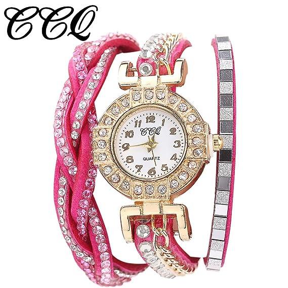 Para mujer pulsera relojes Cooki Lady Fashion Rhinestone de la niña de la capa de cuentas