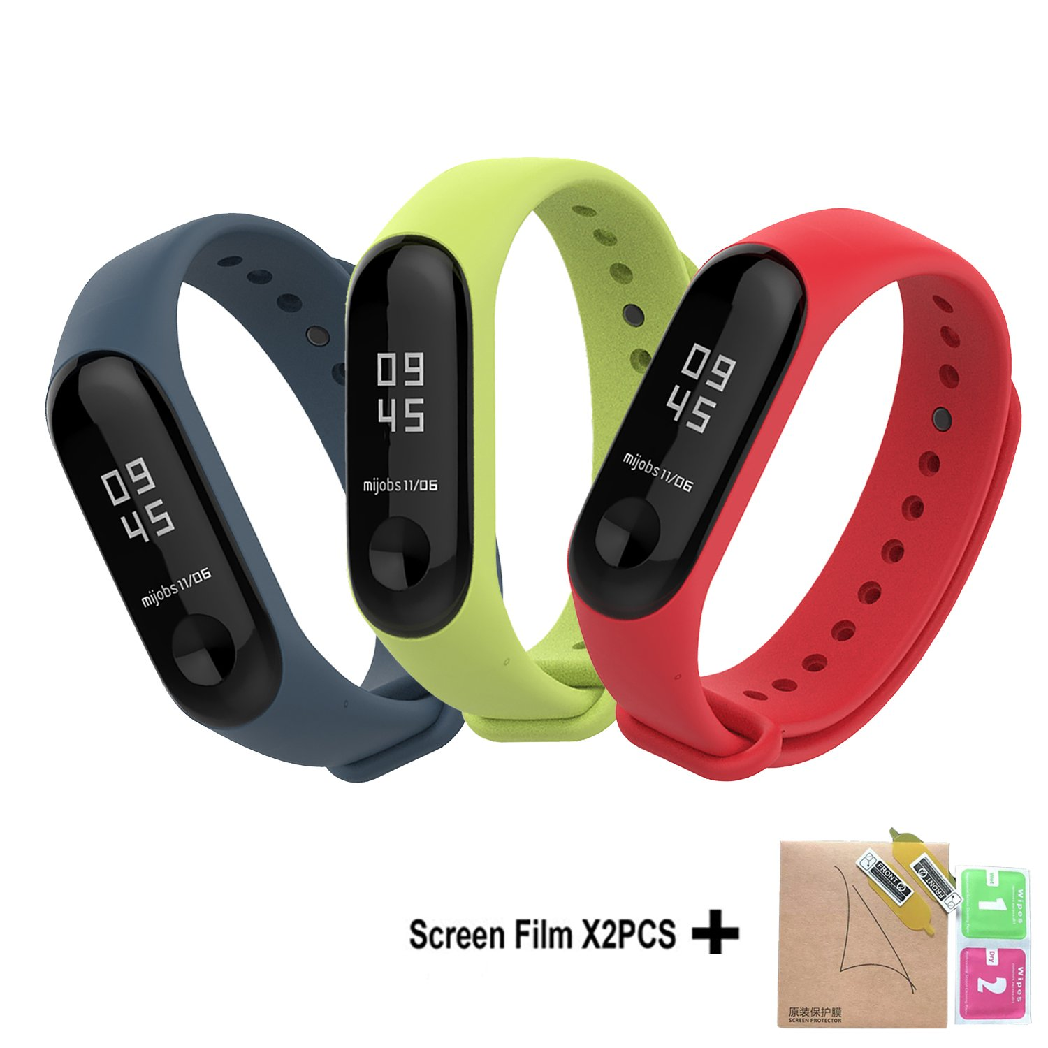 Bdig Xiaomi Mi Band 3 Strap Bracelet Replacementcolorful Waterproof 2 Oled Replacement Stainless Steel Mijobs Silver Soft Silicone Wristband Watchband Accessories For Miband