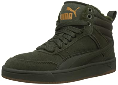 52b35405905 Puma Unisex Adults Rebound Street V2 Sd Fur Hi-Top Trainers Black ...