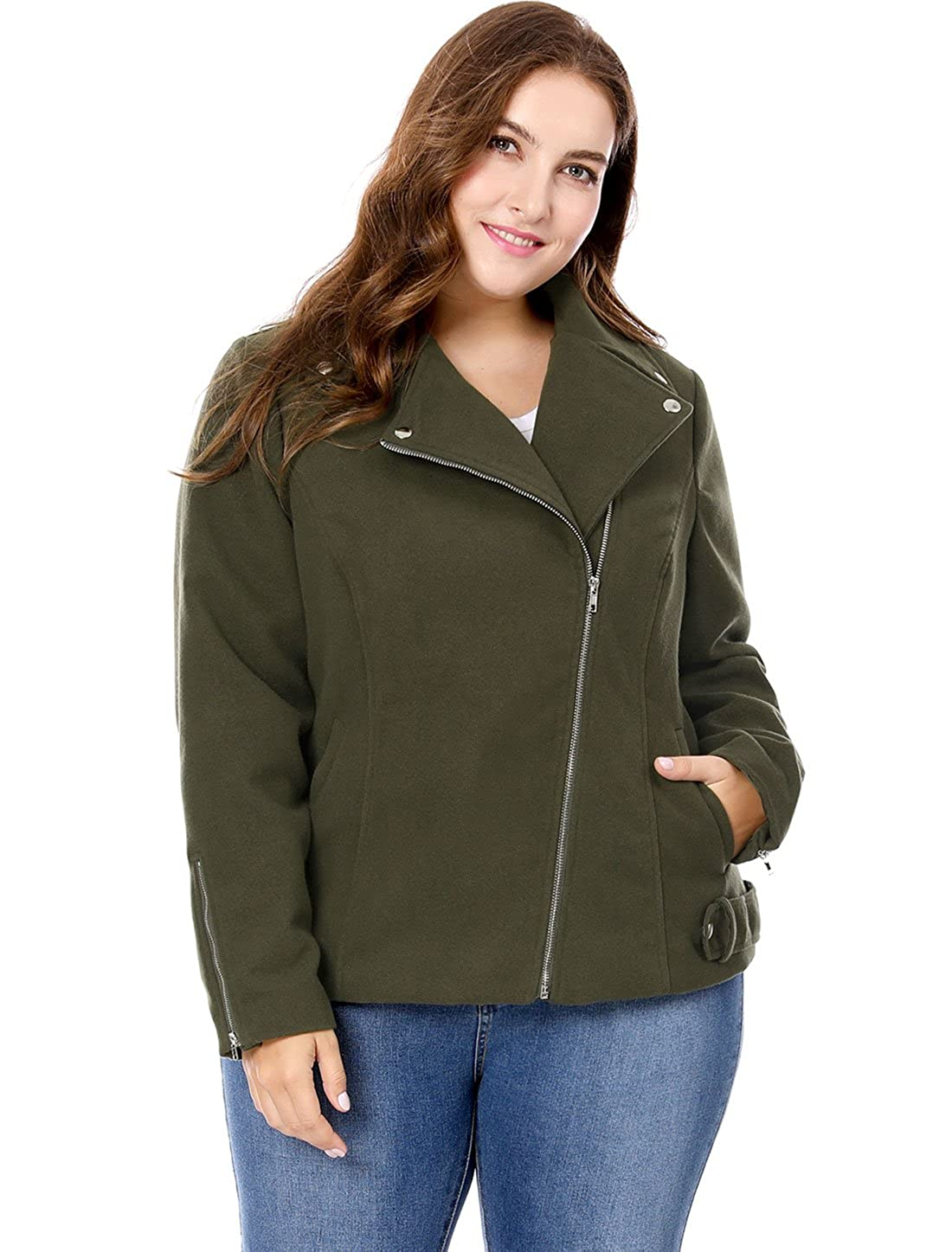 uxcell Womens Convertible Collar Inclined Zip Closure Plus Size Moto Jacket