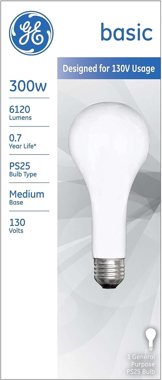 GE Incandescent Light Bulb 300 watts 6120 lumens 2715 K Pear Straight PS25 Medium Base (E26) 1 pk
