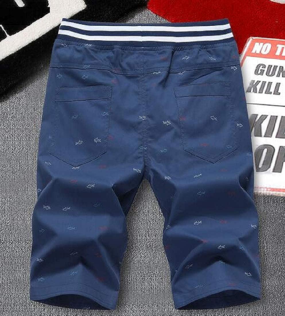Joe Wenko Mens Washed Beach Casual Straight Leg Print Cotton Shorts