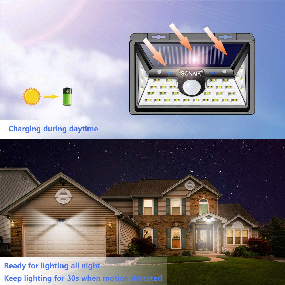 Solar Lights Outdoor, SONATA Solar Motion Sensor Light Outdoor, Upgraded 3 Optional Modes Security Motion Sensor Lights, IP65 Waterproof, 270 Degree Wide Angle LED Solar Light for Front Door, Driveway
