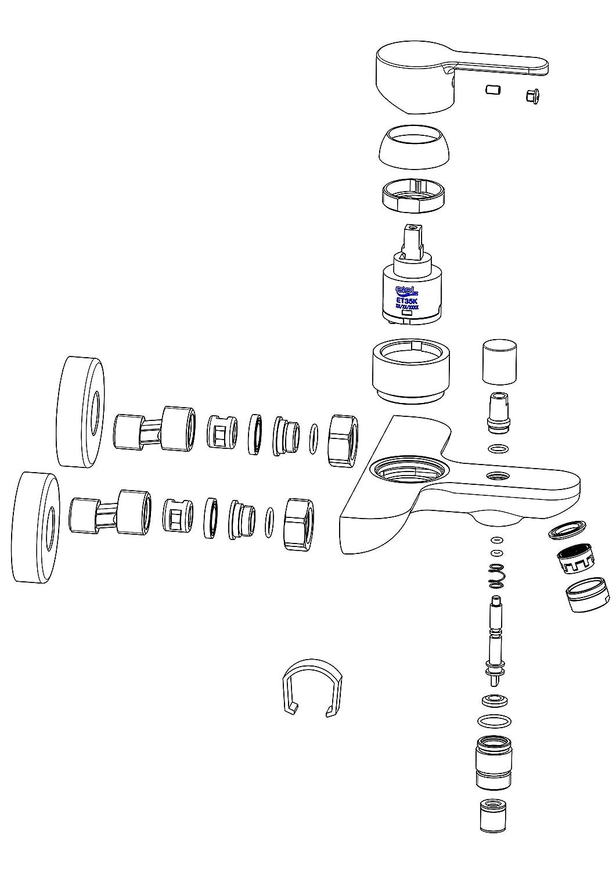 EISL Disegno Nuevo Mitigeur monocommande 1/pi/èce remplissage de baignoire//douche Blanc//Chrome ni023dinwcr