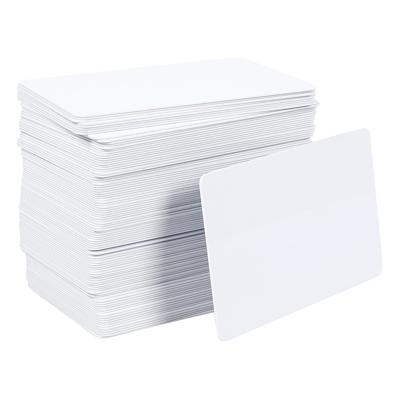 PVC Blank Cards Pack - 100 Pieces Graphic Quality White ID Plastic Cards for Photo Printer