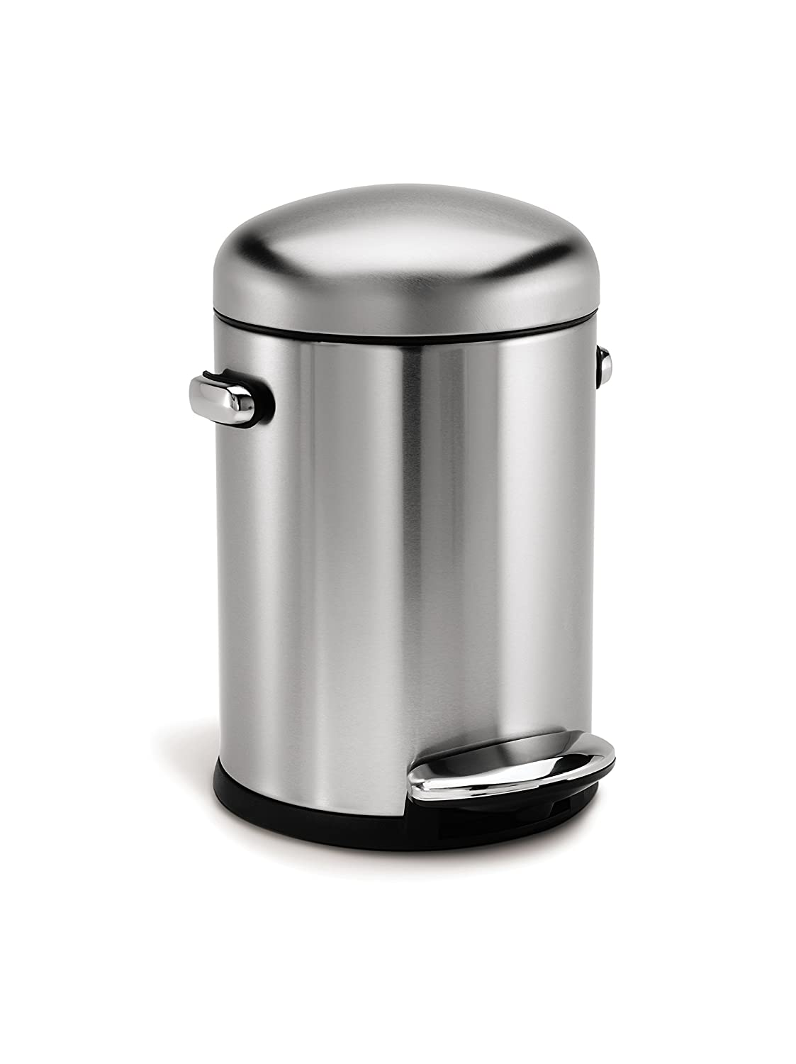 simplehuman Retro Pedal Bin, 4.5 L - Fingerprint-Proof Brushed Stainless Steel CW1888