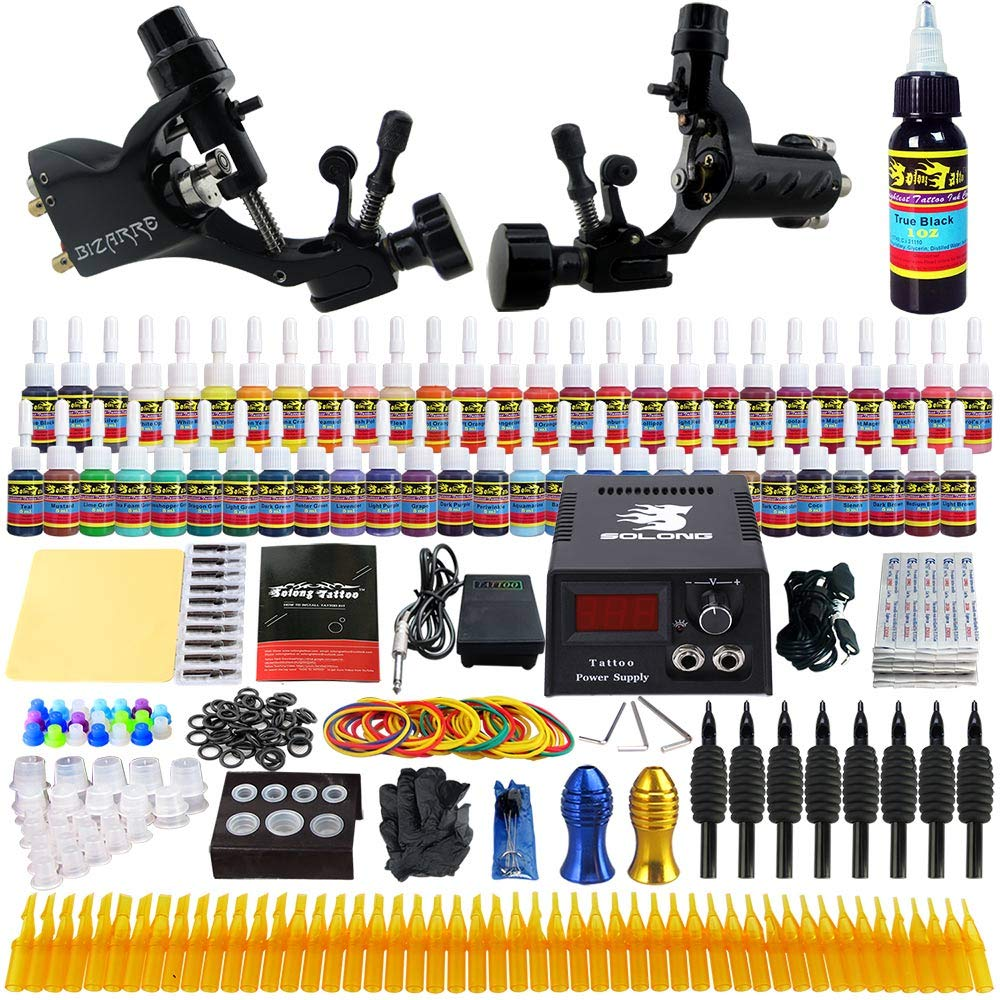 Solong Tattoo Complete Tattoo Kit 2 Pro Rotary Tattoo Machine Guns 54 Inks Power Supply Foot Pedal Needles Grips Tips TK255 by Solong Tattoo